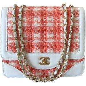 bee6fd83d8 Classic Flap Orange Leather Tweed Shoulder Bag